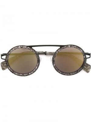 Солнцезащитные очки с круглой оправой Yohji Yamamoto. Цвет: черный
