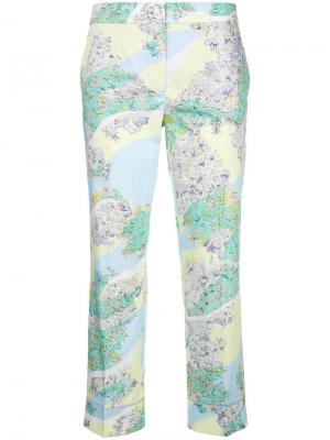 Укороченные брюки с цветочным принтом Emilio Pucci. Цвет: разноцветный