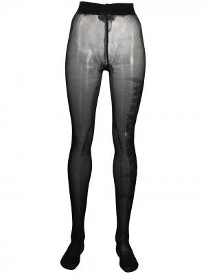 Колготки со стразами Philipp Plein. Цвет: черный
