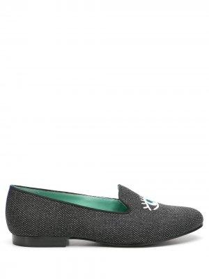 Слиперы с вышивкой Blue Bird Shoes. Цвет: серый