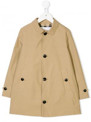 Однобортное пальто Burberry Kids. Цвет: нейтральные цвета