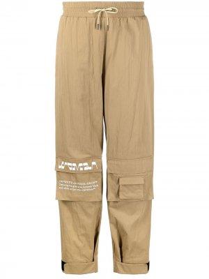 Зауженные брюки карго с эластичным поясом Off-White. Цвет: коричневый