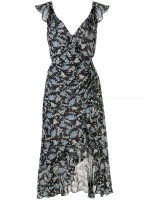 Платье Amal с цветочным принтом Veronica Beard. Цвет: черный