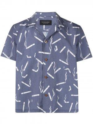 Рубашка с графичным принтом и короткими рукавами Viktor & Rolf. Цвет: синий