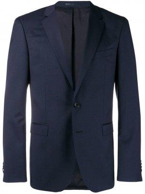 Однобортный костюмный пиджак BOSS. Цвет: синий