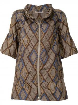 Куртка с короткими рукавами и геометричным принтом Bottega Veneta Pre-Owned. Цвет: коричневый