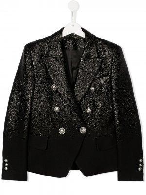 Двубортный пиджак с эффектом металлик Balmain Kids. Цвет: черный