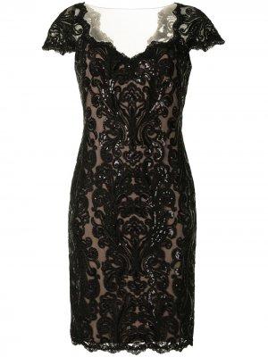 Платье с кружевом Tadashi Shoji. Цвет: черный