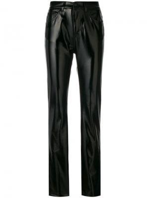 Блестящие прямые брюки Fiorucci. Цвет: черный
