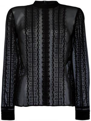 Прозрачная блузка с кружевными вставками Elizabeth And James. Цвет: чёрный