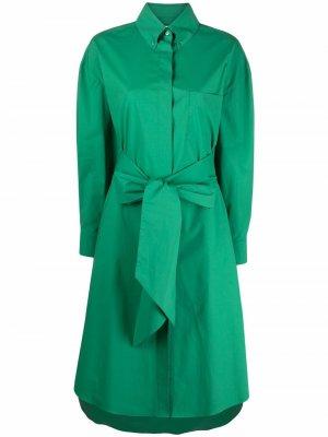 Драпированное платье-рубашка с завязками Alexandre Vauthier. Цвет: зеленый
