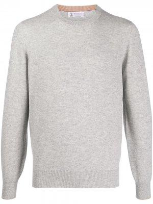 Кашемировый пуловер с круглым вырезом Brunello Cucinelli. Цвет: серый