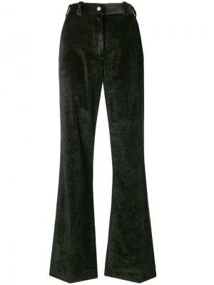 Расклешенные вельветовые брюки Moncler. Цвет: зеленый