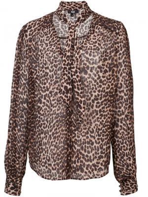 Leopard print blouse PAIGE. Цвет: коричневый