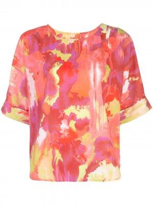 Крепдешиновая футболка Natori. Цвет: розовый