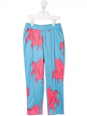 Спортивные брюки с принтом Pegasus Mini Rodini. Цвет: синий