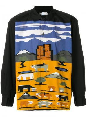 Рубашка с пейзажным принтом Kansai Yamamoto Pre-Owned. Цвет: черный