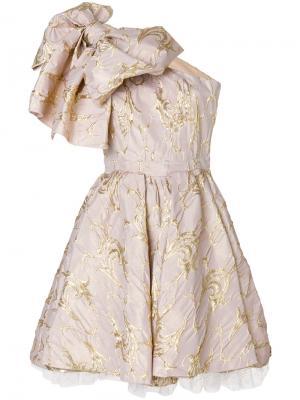 Коктейльное платье с крупным бантом MSGM. Цвет: нейтральные цвета