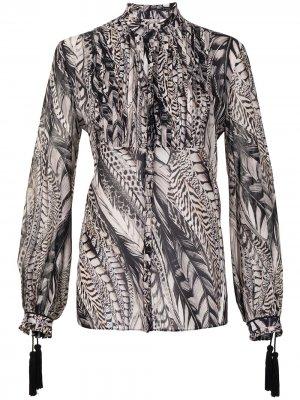 Блузка с длинными рукавами и принтом Roberto Cavalli. Цвет: коричневый