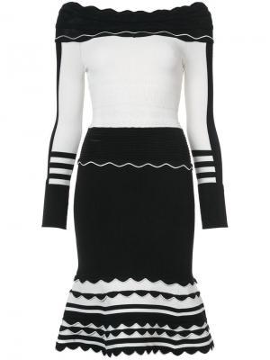 Трикотажное платье в полоску Yigal Azrouel. Цвет: черный