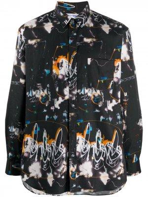 Рубашка с длинными рукавами и абстрактным принтом Comme Des Garçons Shirt. Цвет: черный