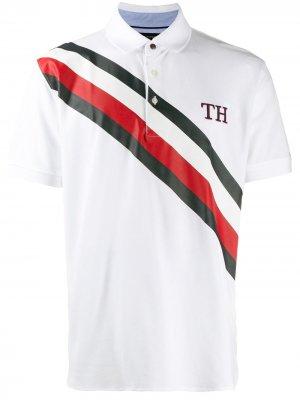 Рубашка-поло TH в полоску Tommy Hilfiger. Цвет: белый