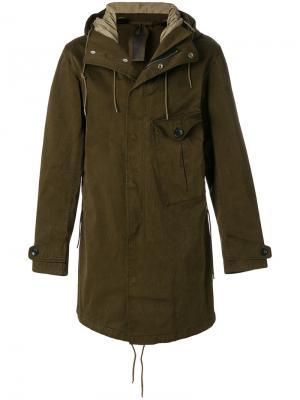 Пальто с капюшоном Ten C. Цвет: зеленый