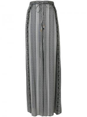 Полосатые брюки-палаццо Camilla. Цвет: зеленый