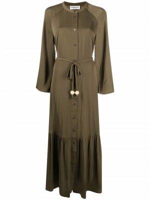 Длинное платье-рубашка Essentiel Antwerp. Цвет: зеленый