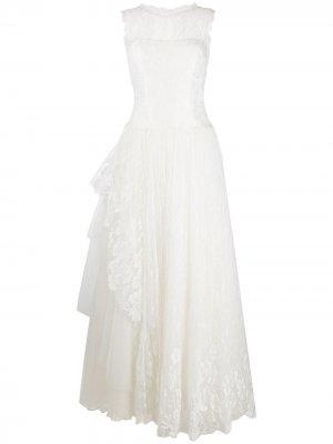 Кружевное длинное платье Alberta Ferretti. Цвет: белый