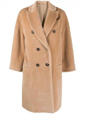 Двубортное пальто Brunello Cucinelli. Цвет: коричневый