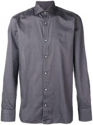 Gingham check shirt Z Zegna. Цвет: серый