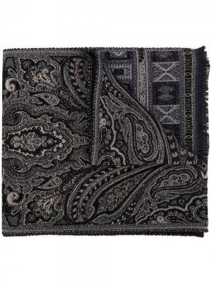Жаккардовый шарф с узором пейсли Etro. Цвет: черный