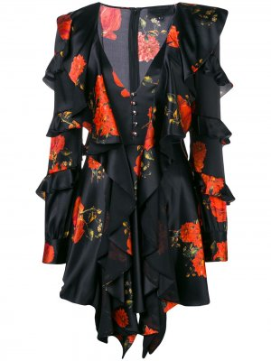 Ruffled floral print dress Philipp Plein. Цвет: черный