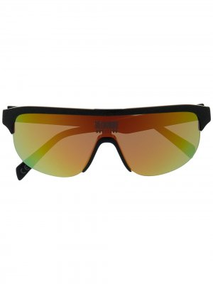 Солнцезащитные очки-маска с голографическим эффектом Billionaire Boys Club. Цвет: черный