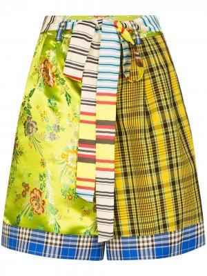 Жаккардовые шорты с контрастными вставками Shuting Qiu. Цвет: зеленый
