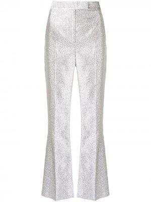 Строгие брюки с эффектом металлик 3.1 Phillip Lim. Цвет: серебристый