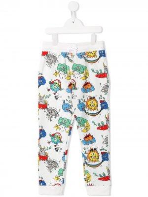 Спортивные брюки с принтом Stella McCartney Kids. Цвет: белый