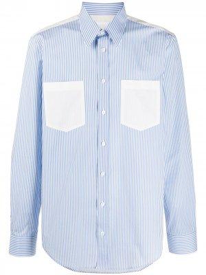 Полосатая рубашка с длинными рукавами Helmut Lang. Цвет: синий