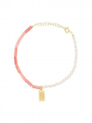 Позолоченный браслет с жемчугом Hermina Athens. Цвет: розовый