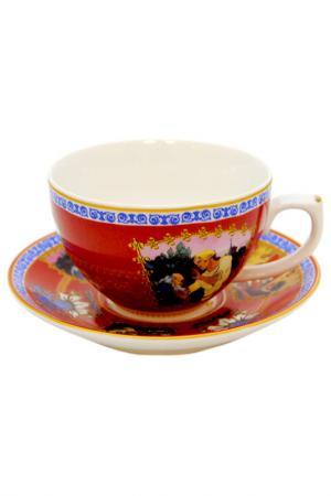 Чашка с блюдцем А.С.Пушкина Федерация. Цвет: красный
