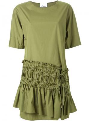 Платье шифт с присборенной панелью 3.1 Phillip Lim. Цвет: зеленый
