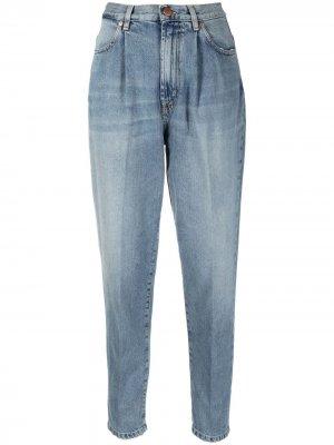 Зауженные джинсы с завышенной талией Pt05. Цвет: синий
