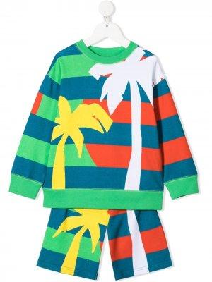 Спортивный костюм с принтом Stella McCartney Kids. Цвет: зеленый