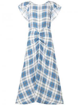 Длинное платье в клетку с принтом Paper London. Цвет: белый