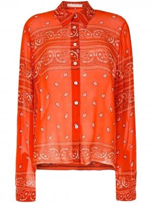 Полупрозрачная рубашка с принтом Dion Lee. Цвет: оранжевый
