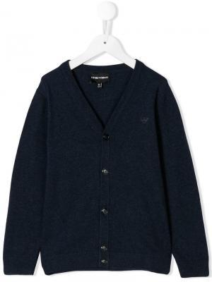Пуловер с V-образной горловиной Emporio Armani Kids. Цвет: синий