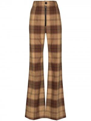 Расклешенные брюки в клетку Kwaidan Editions. Цвет: коричневый