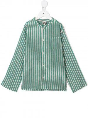 Полосатая рубашка с круглым вырезом Bonton. Цвет: зеленый