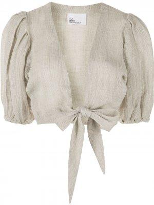 Укороченная блузка с завязками Lisa Marie Fernandez. Цвет: нейтральные цвета